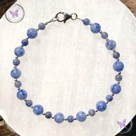 Blue Aventurine Silver Bead Bracelet